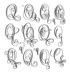 Calligraphy lettering script font q set hand vector