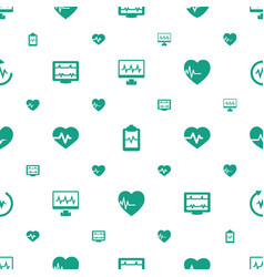 Cardiac icons pattern seamless white background vector