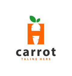 carrot vegetable logo with letter h vector image