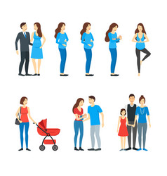 cartoon characters family pregnancy parents and vector image