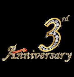 celebrating 3rd anniversary golden sign vector image