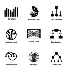 Chart icons set simple style vector