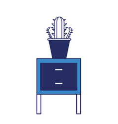 Chest of drawers with cactus ico vector