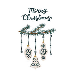 christmas tree branches with new year toys merry vector image