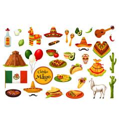 cinco de mayo holiday icons mexican culture vector image
