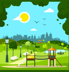 city garden with childrens playground and city vector image