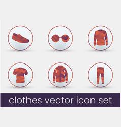 clothes icon set bordeaux vector image