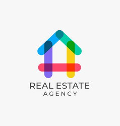 Colorful multicolored real estate logo design vector