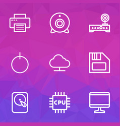 computer icons line style set with print webcam vector image