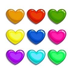Cute cartoon colorful hearts set vector image