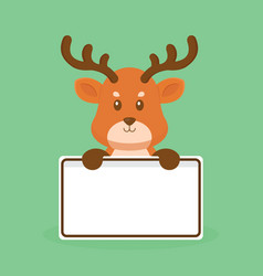 Cute deer holding blank text board vector