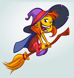 cute witch on a broom vector image