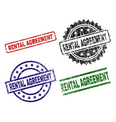 damaged textured rental agreement stamp seals vector image