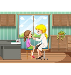 Doctor giving treatment to girl in clinic vector
