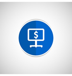 dollar blue glossy icon on white background vector image