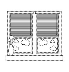 Dotted shape window with blind curtain and fower vector
