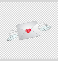 envelope with heart stamp and white angel wings vector image