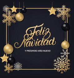 feliz navidad hand written lettering vector image