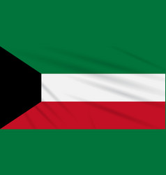 Flag kuwait swaying in the wind realistic vector