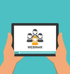Flat design webinar concept Online education vector image