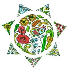 Floral sun vector