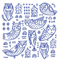 forest owl collection hand drawn set vector image