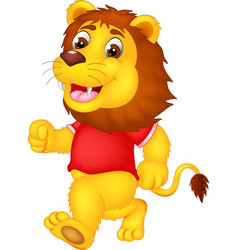 funny lion cartoon running with smile and waving vector image