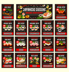 Futomaki philadelphia california unagi sushi set vector