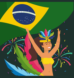 girl dancer with brazil flag and fireworks vector image