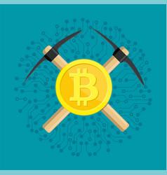 golden bitcoin and pickaxe vector image
