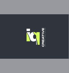 Green letter iq i q combination logo icon company vector