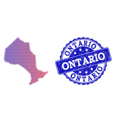 Halftone gradient map of ontario province and vector