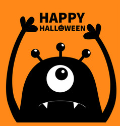 Happy halloween monster head silhouette one eye vector