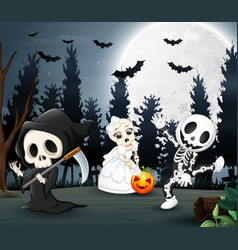 happy kids wearing halloween costume in the night vector image