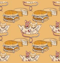 Happy mice cheese and hamburger seamless pattern vector