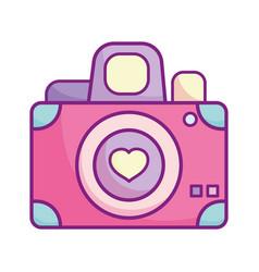 Happy valentines day photo camera lens heart love vector