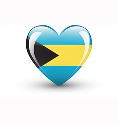 Heart-shaped icon with national flag of Bahamas vector image