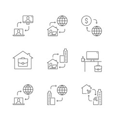 home office linear icons on white background vector image