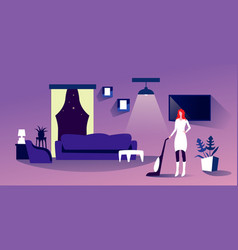 Housewife using vacuum cleaner woman doing vector