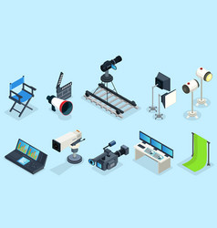 Isometric cinematography elements set vector