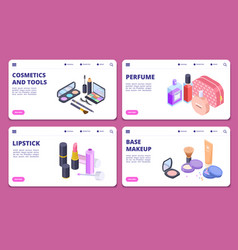 isometric cosmetics banners template vector image