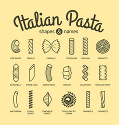 Italian pasta shapes and names collection part 1 vector