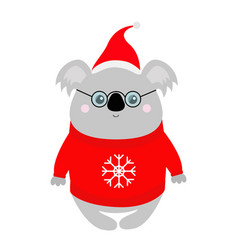 koala in red santa hat ugly sweater glasses merry vector image