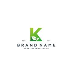Leaf letter k logo design vector