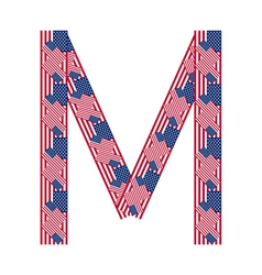 Letter M made of USA flags vector image