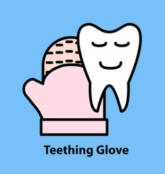 Line icon of teething glove vector