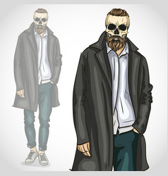 man with skull and beard and moustaches vector image