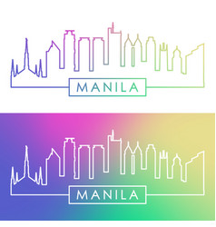 Manila skyline colorful linear style editable vector