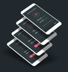 mobile app ui sign in and sign up screens 3d vector image