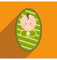Modern flat icon with long shadow newborn baby vector